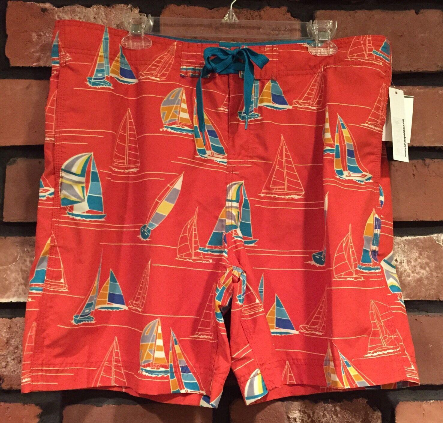 NWT Reyn Spooner Mens Swimwear Sz 36 Red Trunks Board Shorts Hawaii Sailboats