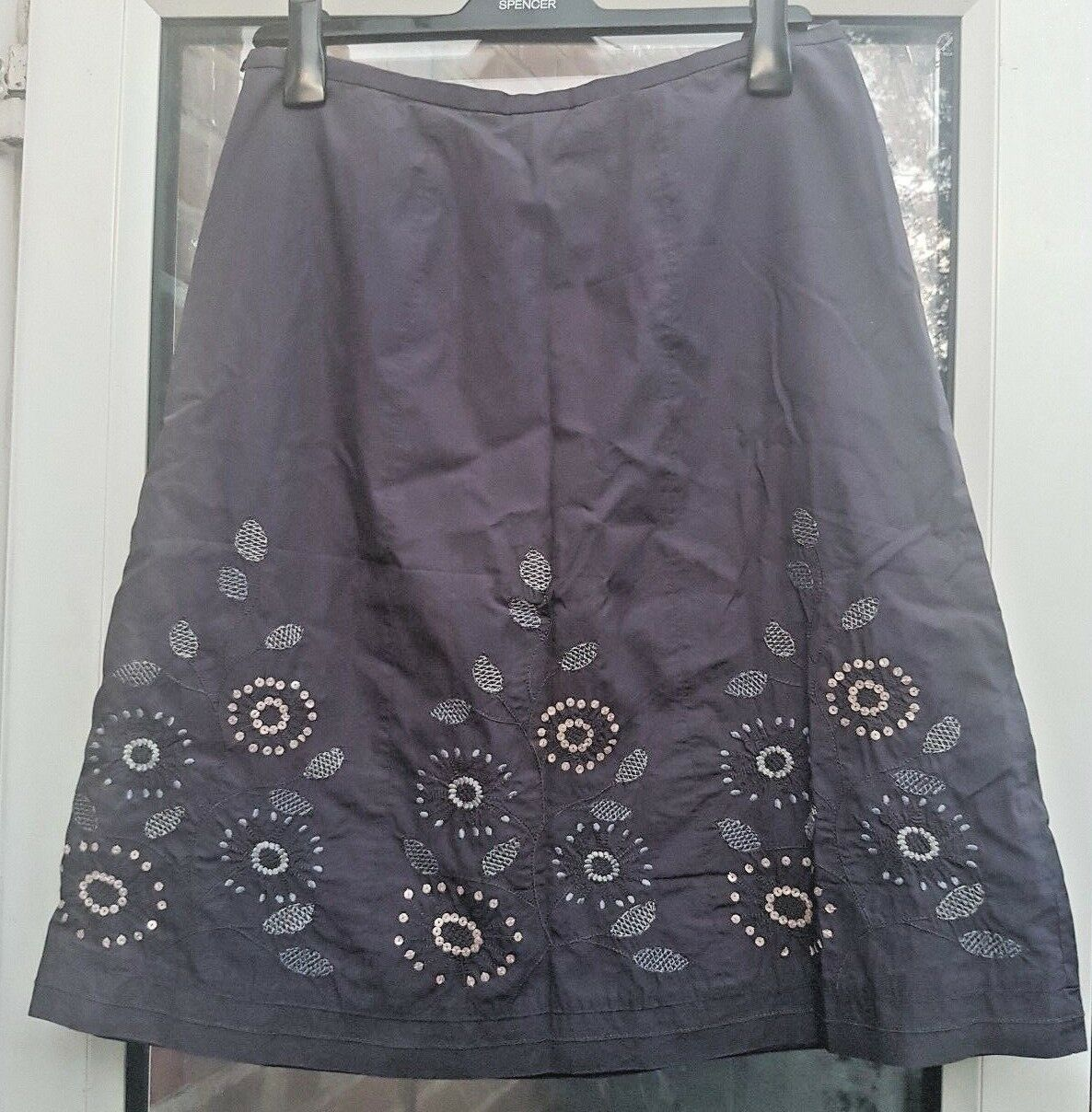 NEXT Ladies Grey Floral Flared Fully Lined Embroidered Sequins Skirt Size 14