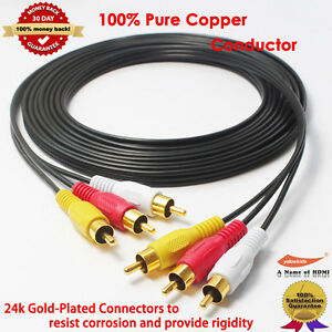 12FT-Gold-3RCA-Male-Male-Composite-Audio-Video-TV-Adapter-Cable-Cord-HDTV-HIFI