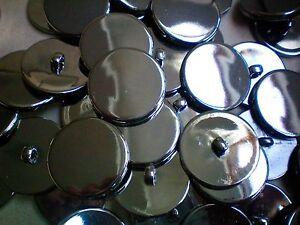 J137 Large 34mm 54L Gunmetal Grey Silver Satin Metal Shank Coat Jacket Buttons