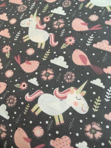 Happy unicorn dark forest bird trees  Cotton Printed Fabric,kids Fat quarter