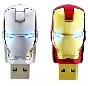 USB Flash Drive Iron Man LED Pen Drive 128gb 64gb 16gb 32gb 8gb Memory Card 128GB, Silver