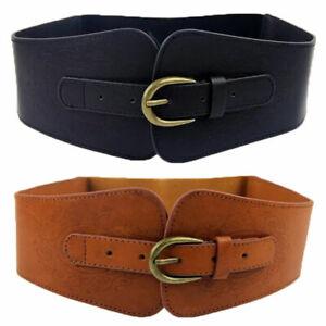 Women Classic Super Wide Faux Leather Totem Print Elastic Stretchy Corset Belt