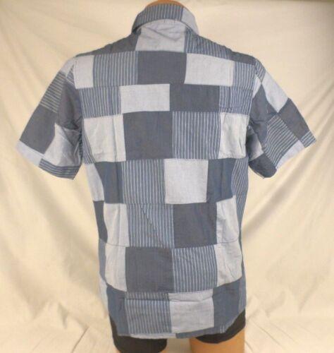 P.O.V Men/'s Railroad Short Sleeve Button Front Shirt Large Blue NWT #529K CA864