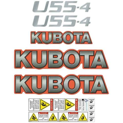 Kubota U554 Decals U55 Repro Stickers, Decal Kit