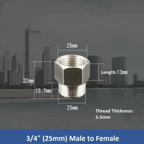 """SS 201 BSP Pipe Fittings Tubing 1//2/""""-1/"""" Male x Female Hex Thread Connector"""