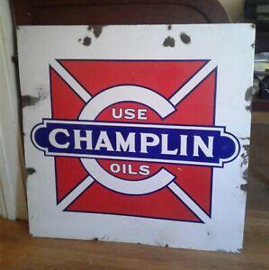 "VINTAGE CHAMPLIN OIL COMPANY PORCELAIN SIGN MALTISE CROSS PIC ENID OKLAHOMA 36"""