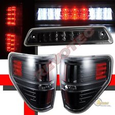 09-14 Ford F150 XLT STX FX4 LED Pickup Black LED Tail Lights & 3rd Brake Light