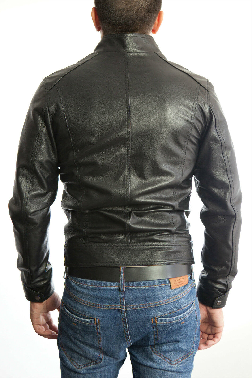 efc1803fc1 DE Herren kabát Lederjacke En Biker férfi bőr 100 nadrág kabát Homme Veste  En cuir 3s5a