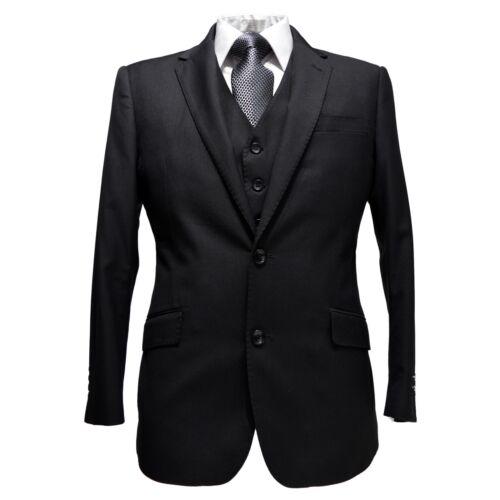 Statement Mens Modern Fit Solid 100/% Wool Notch Lapel Vested Suit STZV-100 Black