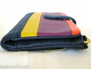 NEW FOSSIL ERIN PW TAB GENUINE LEATHER MULTI-COLOR STRIPES WALLET,CLUTCH