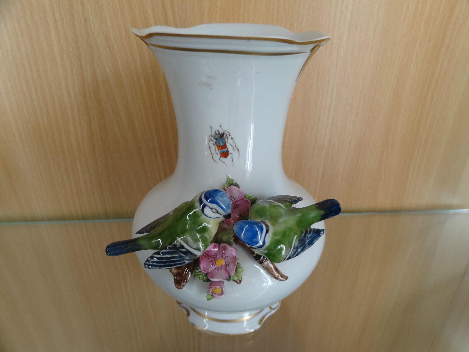 Vase mit Blaumeisen  Thür. Porzellan Unterweissbach Handmalerei handpainted  | Speichern