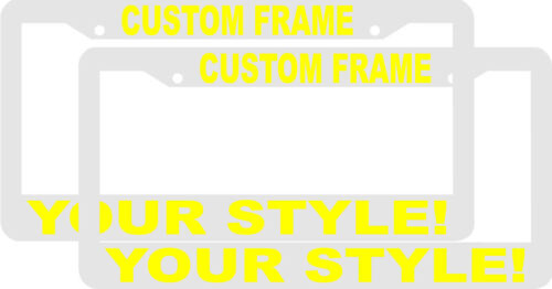 2 CUSTOM PERSONALIZED WHITE WITH YELLOW LETTERS customized License Plate Frame
