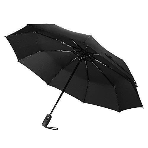Windproof Umbrella Reinforced 9 Rib 60Mph Auto Open Close Black Compact Gift New