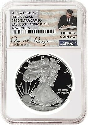 2016 W 1oz Silver Eagle Proof NGC PF69 Ultra Cameo Liberty Coin Act Label