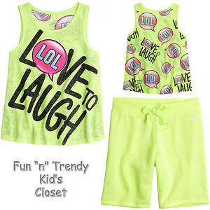 e499a40f76b5c NWT Justice Girls Size 7 8 Positive Message Tank Top   Bermuda ...