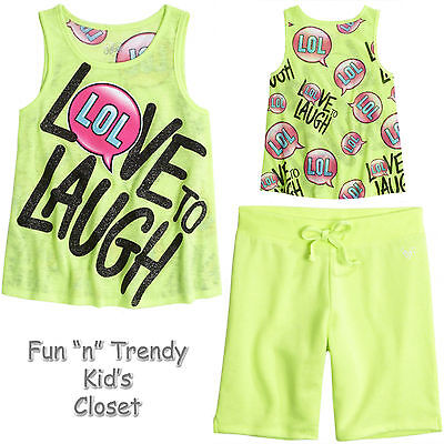 NWT Justice Girls Outfit Top//Shorts Size 7 8
