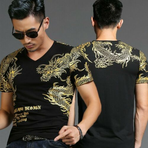 Mens Summer Cotton Short sleeve Crew neck T shirt Tops Pullover Tee Dragon print