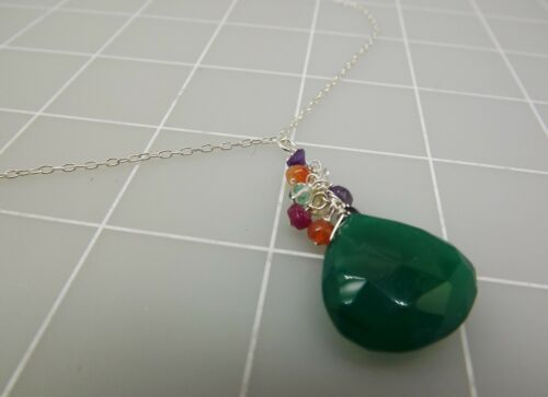 New Sterling Silver 925 FACETED EMERALD /& Multi Colored Stones Necklace 6.5Grams