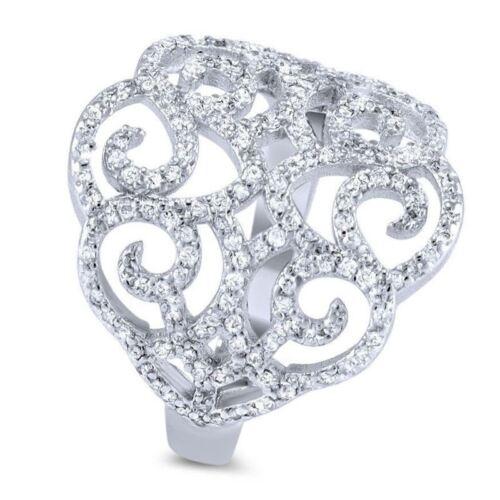 Pascollato Jewelry Art Deco Cz 925 Silver Big Cocktail Ring Filigree Micro Pave