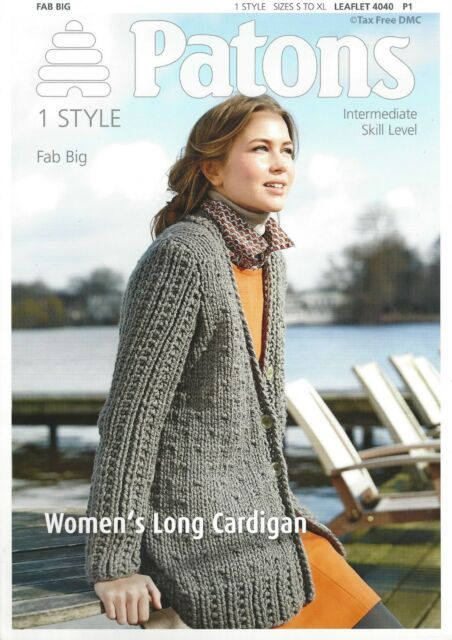 2b398eff7 VAT Free Knitting PATTERN ONLY Patons Ladies Long Cardigan Fab Big 4040 New
