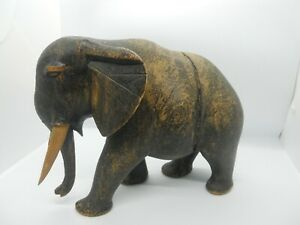 Vintage-Hand-Carved-Wooden-Elephant-Figure-Statue-Home-Decoration-African-Art