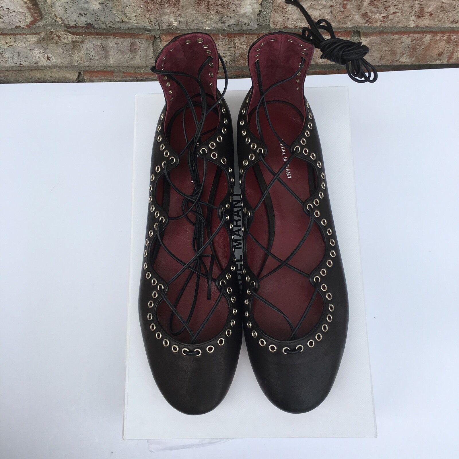 outlet online Isabel Marant Leo Lace Up Tie Ballerinas Ballerinas Ballerinas Ballet Leather Flats nero Dimensione 40  grande sconto