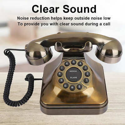 Vintage Landline Corded Telephone Classic Retro Phone Bronze High Definition Call Large Button Telephones with US//UK Wiring Antique Telephone Home Decor