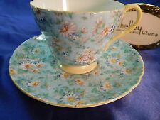 Shelley MARGUERITE CHINTZ  FOOTED RICHMOND  CUP AND SAUCER   13688 YELLOW TRIM