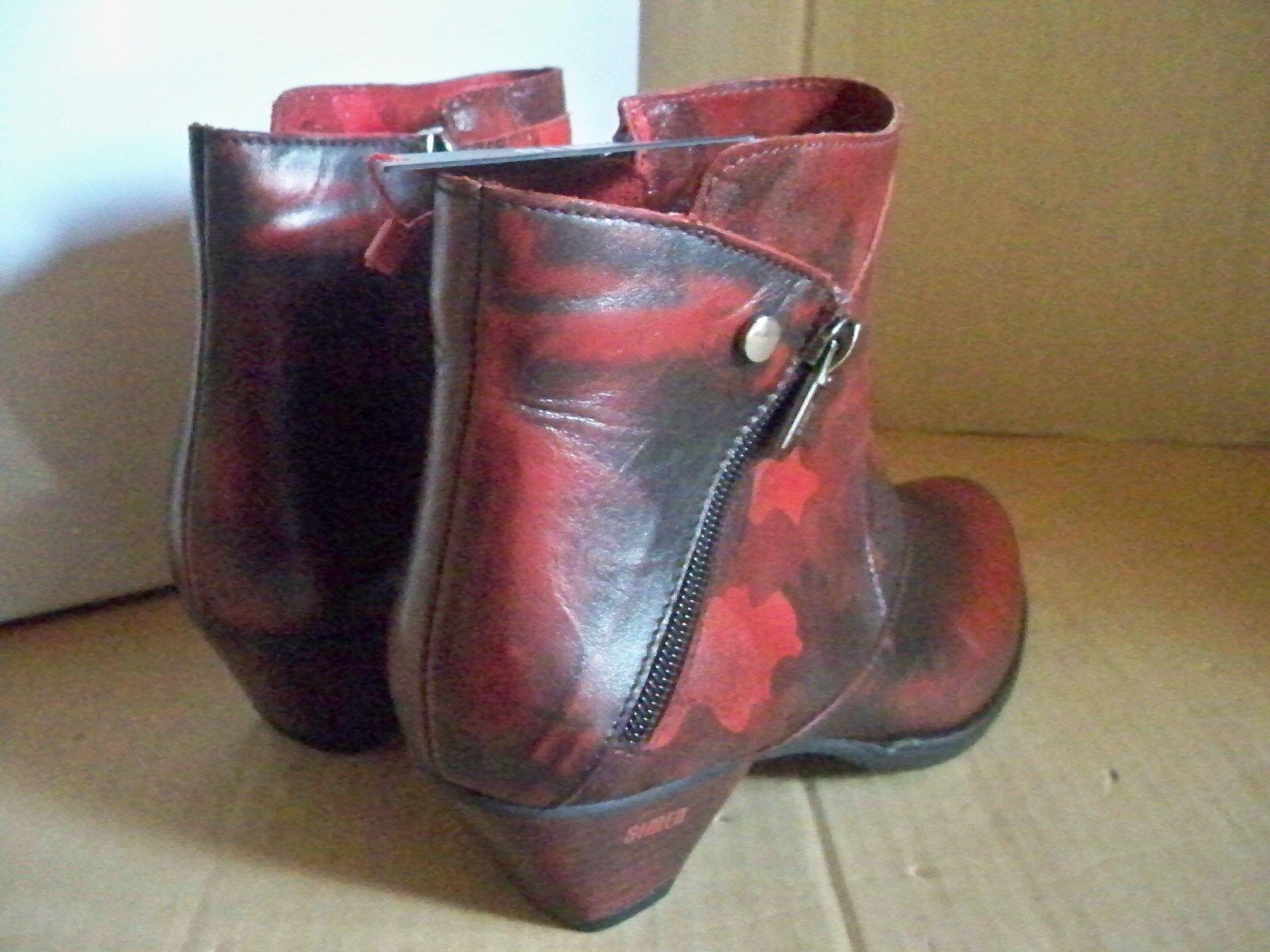 SIMEN  Stiefeletten Camouflage    Rot  Reißverschluss Leder Gr 39   9046 Weite G 0fac59