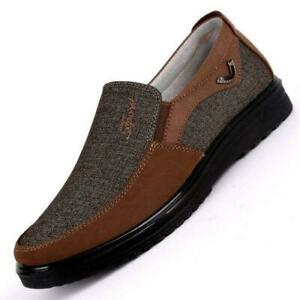 Mens-Old-Beijing-Style-Casual-Canvas-Shoes-Slip-On-Loafers-Comfortable-Flats-XYW