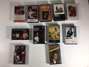 Vintage Cassette 13 Lot Tape Lot, Nat King Cole, Elton John, America, Elvis