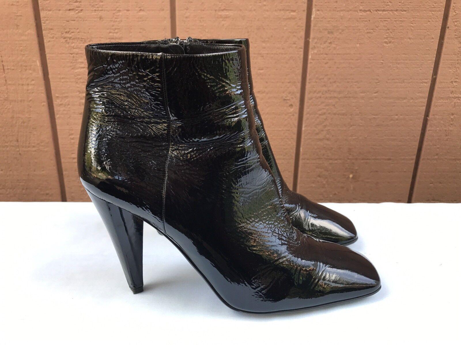 Prada Black Patent Leather Side Zipper High Heel Ankle Boot Shoe US 7.5