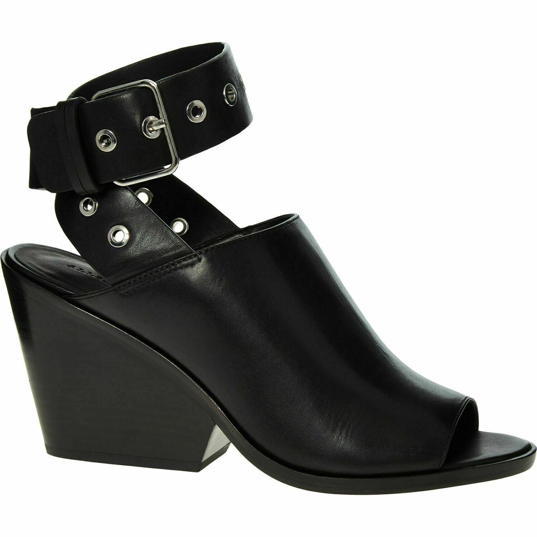 ALLSAINTS Women's POMOLA Genuine Leather Open Toe Sandals Heels, Black UK 6
