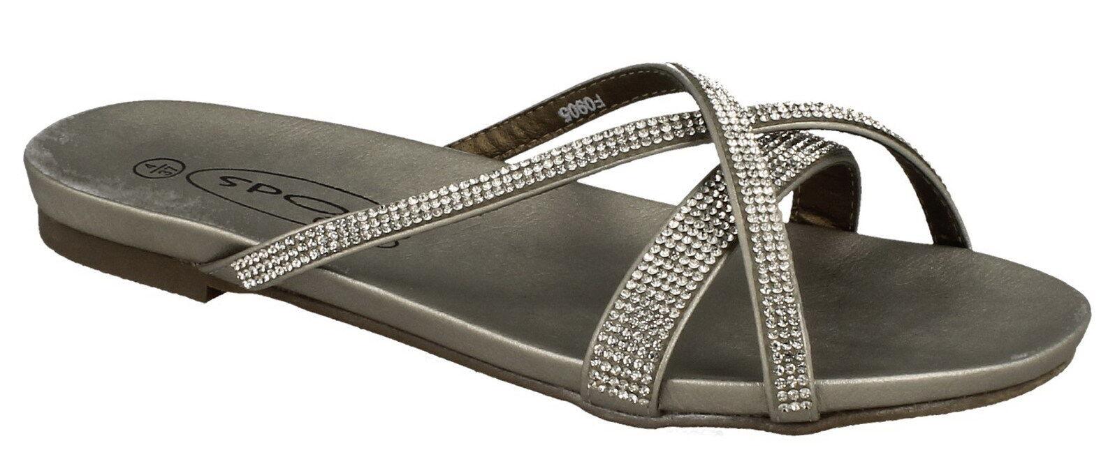SALE Spot Diamante On F0905 Ladies Silver Diamante Spot Synthetic Slip on Summer Sandals dd8748