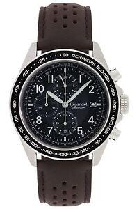 Uhr Armbanduhr Herrenuhr Chronograph Gigandet G24-010 Schwarz Braun Lederband