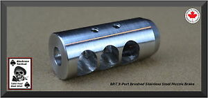 Muzzle Brake Stainless Steel 3 Port 5/8 x 24 Brushed or Matte (Bead-Blasted)