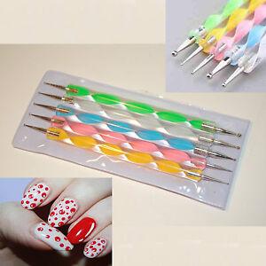 Nail dotting tool 5 x 2 way nail art pens painting marbleizing image is loading nail dotting tool 5 x 2 way nail prinsesfo Image collections