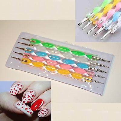 Nail Dotting Tool - 5 x 2 Way Nail Art Pens Painting Marbleizing Drawing Kit UK