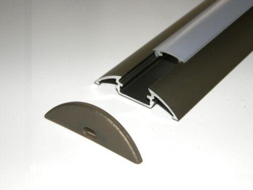 2 x LED Aluminium Profile Anodized INOX finish OPAL Diffuser End Caps 2.5m