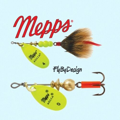 Choice of Hook Mepps Aglia Hot Chartreuse Blade Blade Size Weight /& Quantity