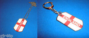 Enamel & Steel England St George Design Dog Tag Bag Tag Key Ring Engrave It GIFT