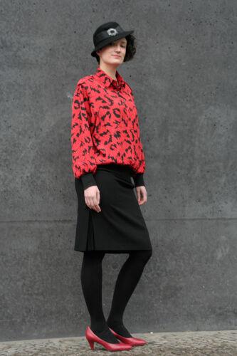 Vintage True 90er Black Red Blouson 90s Bluse Schwarz Rot Shirt Top qS41awz