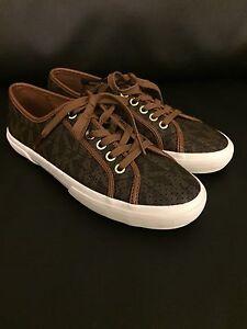 NEW-Michael-KORS-Boerum-Tennis-Sneaker-MK-Logo-PVC-Brown-Size-6-10