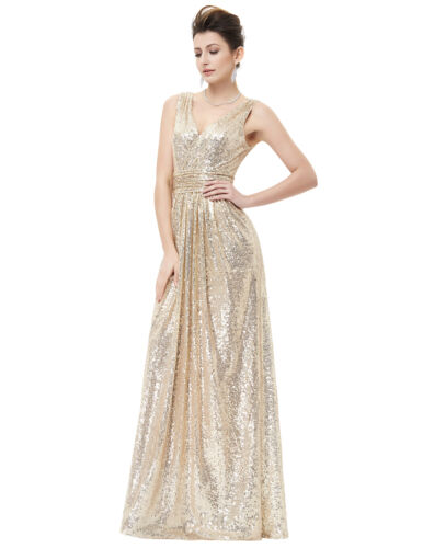 Sleeveless V-NECK SEQUINS Evening Wedding Bridesmaid Long Prom Ball Gowns Dress
