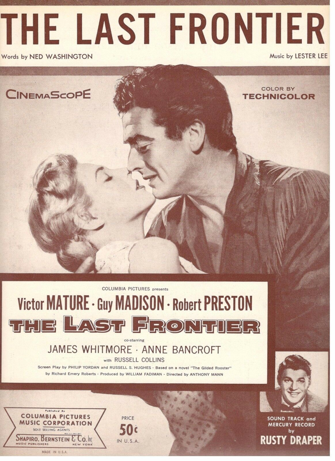 THE LAST FRONTIER  VICTOR MATURE MADISON DRAPER SHEET MUSIC-1955-RARE-NEW-MINT