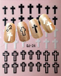 Nail Art 3d Decal Stickers Cross Christian Easter Christmas Qj 24 Ebay