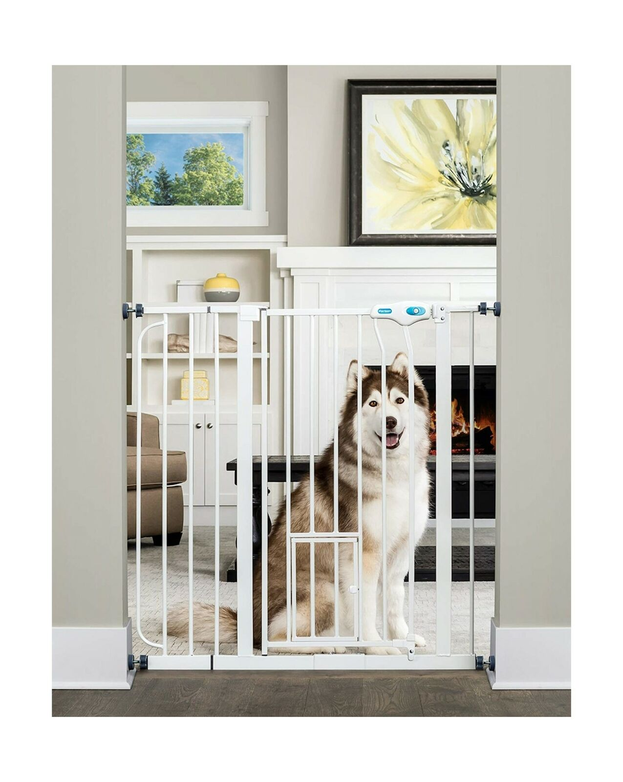 Carlson Extra Tall Walk Through Pet Gate with Small Pet Door, Includes 4Inch...