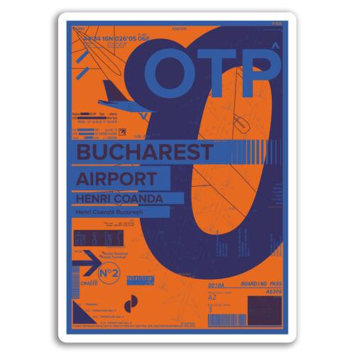 2 x 10cm OTP Bucharest Airport Vinyl Stickers Romania Travel Sticker #17441