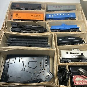 Allstate-Marx-Sears-60-039-s-Train-Set-9624-Locomotive-Track-Cars-Untested-As-is
